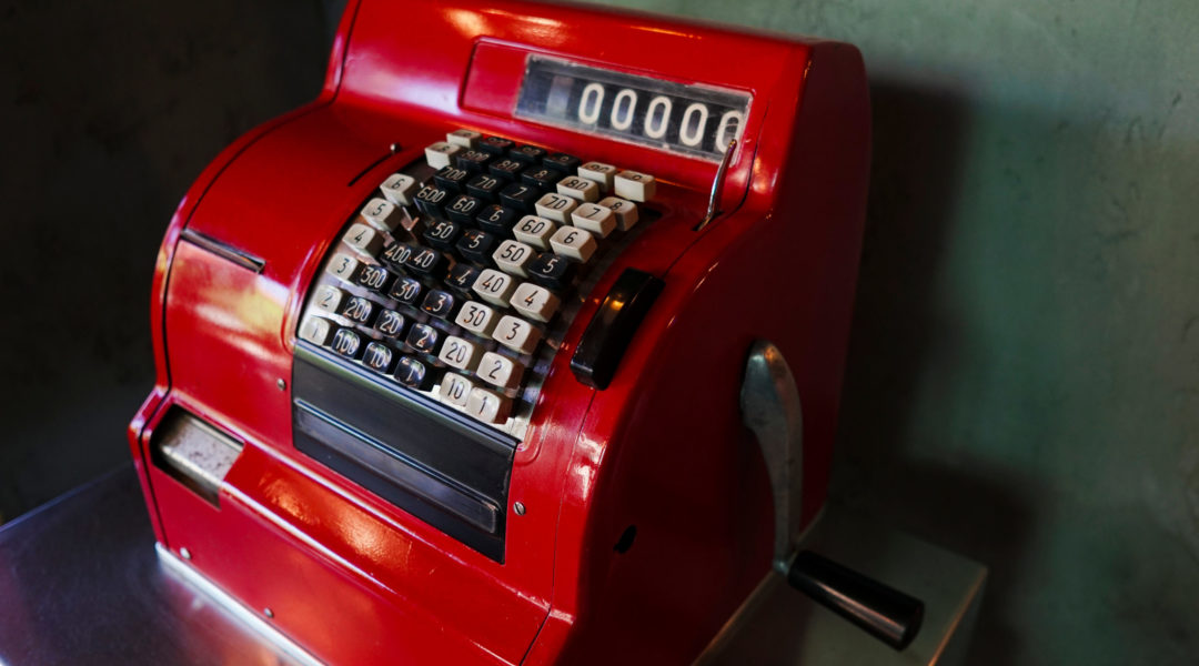 Antique red cash register